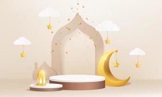 3d islamische muslimische Zylinderpodestproduktanzeige mit Halbmondlaternenmoschee vektor