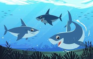 wilder Hai unter Wasser vektor