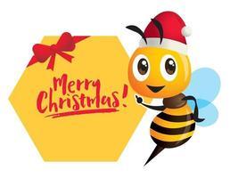 niedlicher Bienencharakter, der Weihnachtshut mit der Hand trägt, die auf großes Wabenformschild zeigt vektor