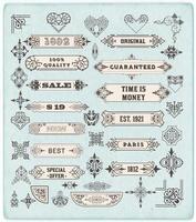 Satz kalligraphischer Gestaltungselemente. Etiketten, Banner, Barockrahmen und Blumenschmuckkollektion vektor