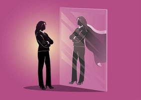 Geschäftsfrau schaut in den Spiegel und sieht sich mit Umhang vektor