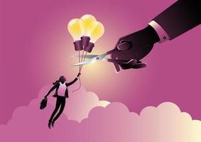 eine Geschäftsfrau, die auf Idee oder Glühbirnenballons mit der Hand fliegt, die das Seil schneidet vektor