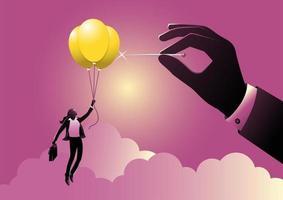 Geschäftsfrau fliegt auf Idee oder Glühbirnenballons mit Handknallballon vektor