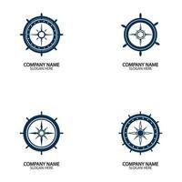Schiffslenkrad und Conpass Rose Navigation vektor