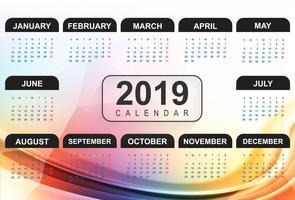 Kalender 2019 Mall med vågbakgrund vektor