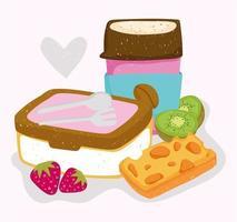 gesundes Essen Kaffeetasse Mittagessen Käse Kiwi und Erdbeere vektor