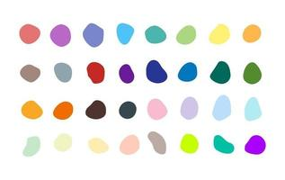 Satz von vielen isolierten Vektor farbigen Flecken Inkblots reiche Sammlung von organischen Blobs Blots Speck Formen Splat Fleck skalierbare Grafik-Design-Elemente Steine Felsen Silhouetten Tinte Flecken Flecken