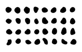 Satz von vielen isolierten Vektorflecken inkblots reiche Sammlung von organischen Blobs Blots Speckformen splat fleck skalierbare grafische Gestaltungselemente Steine Felsen Silhouetten Tintenflecken Fleckfleck unregelmäßige Formen grundlegende einfache abgerundete glatte Formen vektor
