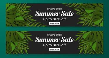 Grundlegende Sommerverkauf bieten Bannerwerbung mit grünen tropischen Blättern Illustrationskonzept vektor
