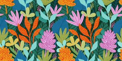 helles lustiges Muster mit abstrakten Blättern vektor