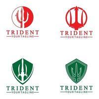 Vintage Dreizack Speer von Poseidon Neptun Gott Triton König Logo Design vektor