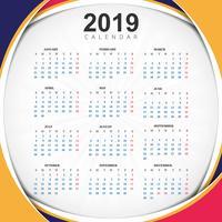 Sammanfattning År 2019, Kalenderdesign vektor