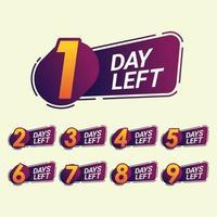 Anzahl der verbleibenden Tage Countdown-Vorlage für die Promotion vektor