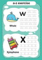 Alphabet Buchstabe w und x Übung mit Cartoon Vokabular Illustration Vektor