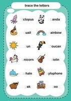 Verfolgen Sie die Buchstaben Übung Illustration Vektor