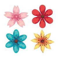 Blumenbündel Gartenpflanzen Dekoration Ikonen vektor