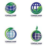 globales Logo-Design der Öko-Weltnatur vektor
