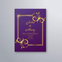 Bröllop inbjudningskort mall med dekorativa blommiga backgrou vektor
