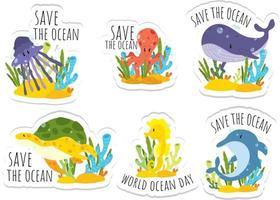 Welt Ozean Tag Aufkleber vektor