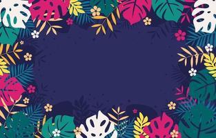 tropische Blumen und Blätter Dekoration vektor