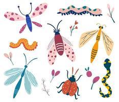 große Menge von Gekritzel Insekten Käfer Schmetterling Motte Wurm Libelle Schlange Insekten Sammlung Schmetterlinge und Motten mit Pflanzen Hallo Frühling Blumenkarte Banner Vektor Cartoon flache Illustration