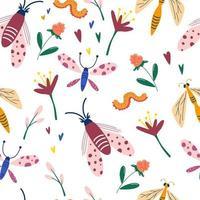 nahtloses Muster mit Insekten und Wildblumen Schmetterlinge Libellen Blumen Würmer Sommerwiese nahtloses Muster Hand gezeichnete dekorative Textur für Stoff Tapete Vektor flache Illustrationen