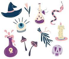 Satz Hexe magische Elemente Hexerei Symbole Trank Schädel Kristall Augen Schlange Sammlung Halloween Elemente für Tattoo Textildruck für T-Shirts und Taschen Karten Vektor-Illustrationen vektor