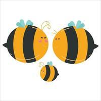 niedliche Bienenfamilientier flache Karikaturcharaktervektorschablonenentwurfsillustration vektor