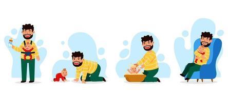 Vater und Baby Charaktere gesetzt vektor