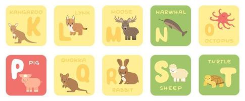 niedliche Vektor kt Zoo Alphabet isoliert Bildungskarten mit Cartoon Tiere Känguru Luchs Elch Narwal Tintenfisch Schwein Quokka Kaninchen Schaf Schildkröte im flachen Stil