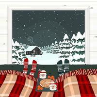 gemütliche Weihnachtswinterszene mit Bett vor Winterwinter vektor