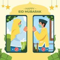 glücklich eid mubarak mit protokoll vektor