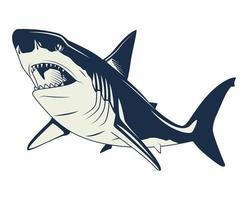 graue Vintage-Elementikone des Hais nautisch vektor