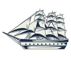 Retro-Segelschiff nautische graue Weinleseelementikone vektor