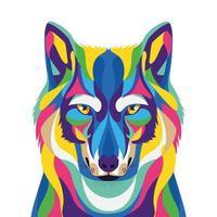 Wolf Wild Life Technicolor Ikone vektor