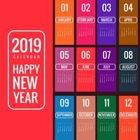 Jahr 2019, schöner Kalender kreatives Design