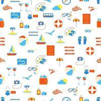 nahtloses Muster mit Reiseelementen Ikonen Zeichen Zeit zu reisen und Abenteuer Urlaub Urlaub Sommerreise Koffer Flugzeug Hut Strandball Pass Insel Kompass Möwe Hausschuhe vektor