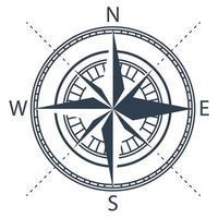 schwarze Windrose isoliert auf weiß vektor