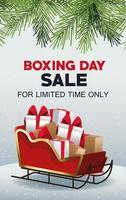 Boxing Day Sale Poster mit Weihnachtsmann Schlitten und Geschenken vektor