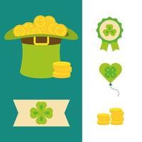 Happy St Patricks Day Ikonen Hut Rosette Herz Bier Hut und Münzen flachen Vektor