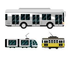Bus U-Bahn Straßenbahn Fahrzeug Transport öffentlichen Dienst Ikonen vektor