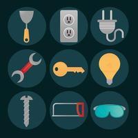 Hausreparatur Renovierungswerkzeuge und Geräteikonen Spatelschlüsselschraube vektor