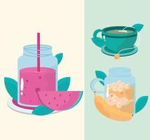 gesunde Mahlzeiten Teesaft Früchte Banane und Wassermelone vektor