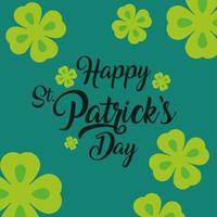 glücklicher st patricks tagglück handklee hand gezeichnet beschriftung grüner hintergrund vektor