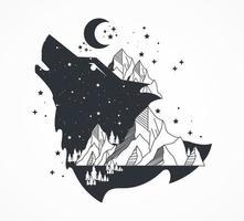 Wolf und Berge vektor