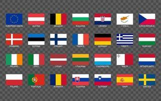 flache Flaggen der Länder der Europäischen Union vektor