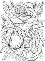 Malvorlage mit Rosen und Blättern Schwarzweiss-Umriss, Antistress Färbung Blumenlinie Kunst vektor