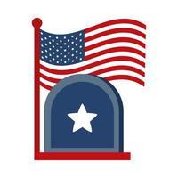 Gedenktag Grabstein und Flagge amerikanische Feier flache Stilikone vektor
