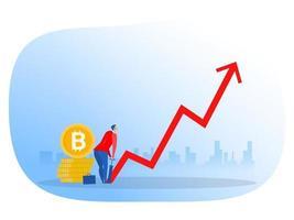 Geschäftsmann neben Bitcoins, die Pfeil aufpumpen, Wachstumsinvestitionskonzept vektor