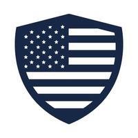Gedenktag Schild Flagge amerikanische Feier Silhouette Stilikone vektor